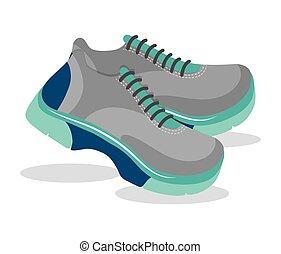 bleu, chaussures sport
