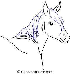 bleu, cheval, crinière