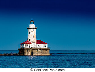 bleu, chicago, lumière port, ciel clair