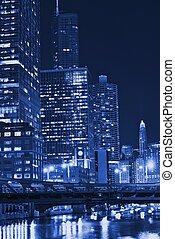 bleu, chicago, nuit