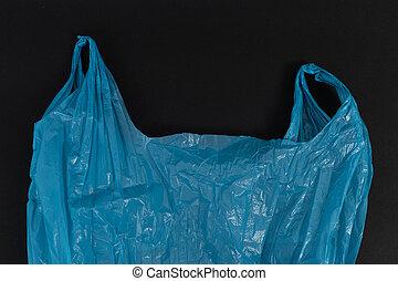 bleu, chiffonné, utilisé, usage, sac plastique, poignées, unique