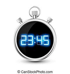 bleu, chiffres, backgroun, isolé, numérique, chronomètre, blanc