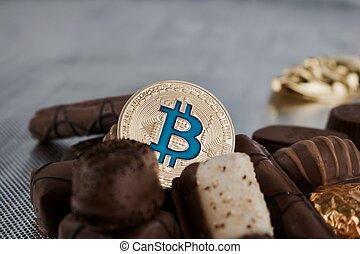 bleu, chocolats, bitcoin