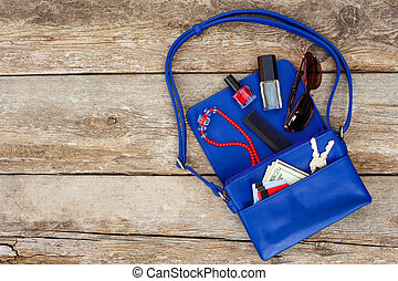 bleu, choses, sommet, dame, accessoires, femmes, produits de beauté, purse., argent, vue., handbag., ouvert, abattre, dehors