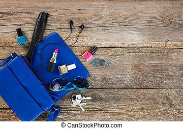 bleu, choses, sommet, dame, accessoires, femmes, purse., produits de beauté, vue., handbag., ouvert, abattre, dehors