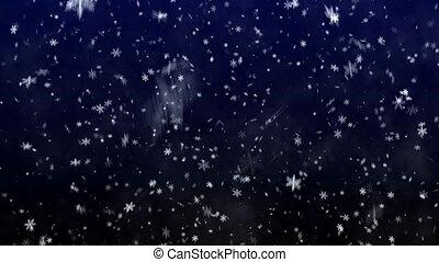 bleu, chute neige, fond, obscurément