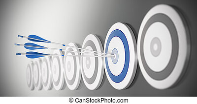 bleu, cible, centre, beaucoup, là, flèches, trois, effet, frapper, barbouillage, cibles, rang