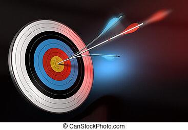 bleu, cible, centre, render, sur, flèche, une, frapper, fond...