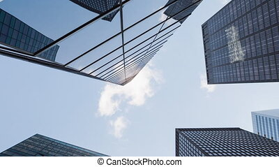 bleu ciel, bâtiments, moderne