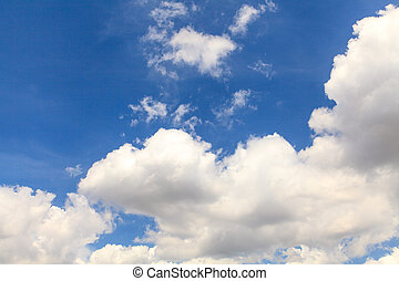 bleu, ciel, blanc, nuages