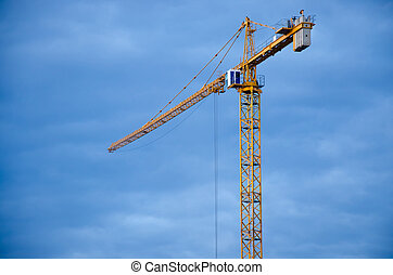bleu, ciel clair, contre, construction, grand, grue