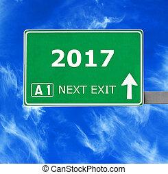 bleu, ciel clair, contre, signe, 2017, route