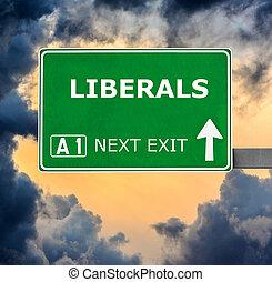 bleu, ciel clair, contre, signe, liberals, route
