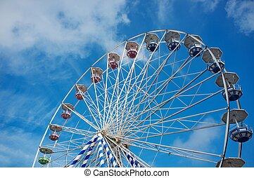 bleu ciel, contre, roue, ferris