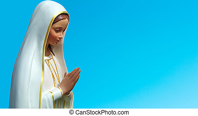 bleu, ciel, contre, vierge,  statue, marie