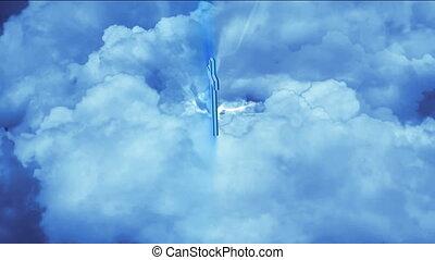 bleu, ciel, croix
