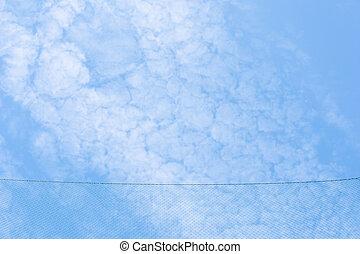 bleu ciel, fond, filet