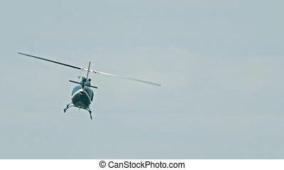 bleu ciel, hélicoptère volant, temps, couvert