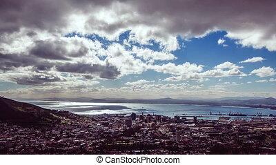 bleu ciel, nuages, cityscape