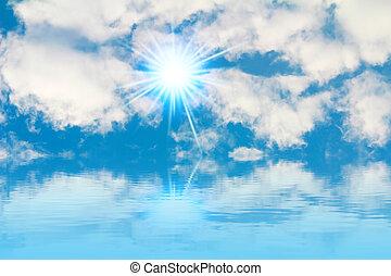bleu, ciel, nuages, soleil,  -, clair, fond, paisible, blanc, ciel