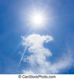 bleu, ciel, nuages, soleil
