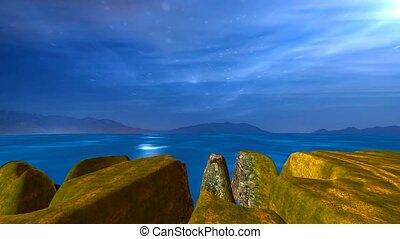 bleu, ciel nuit, mer lune, croisement, falaises, paysage
