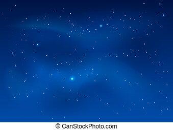 bleu, ciel sombre, étoiles, nuit