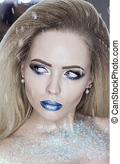 bleu, cils, mode, faux, hiver, beauté, fards paupières, lips., sur, reine, neige, makeup., élevé, arrière-plan., woman., make-up., cristaux, portrait, girl, vacances, noël