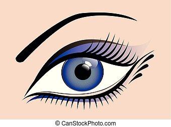 bleu, cils, oeil femme, long