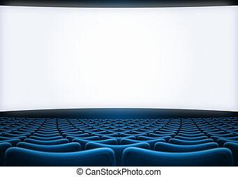 bleu, cinéma, écran, backgound, illustration, sièges, 3d