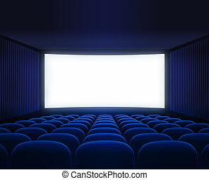 bleu, cinéma, écran film, vide, présentation, salle, vide