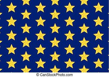 bleu, cinq-pointu, étoile, fond jaune