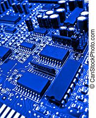 bleu, circuit électronique, éléments