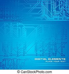 bleu, circuit électronique, fond