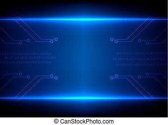 bleu, circuit, résumé, illustration, vecteur, fond, technologie