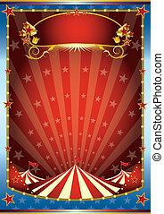 bleu, cirque, arrière-plan rouge
