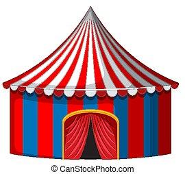 bleu, cirque, rouges, tente