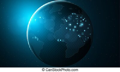 bleu, city., globe., espace, grand, résumé, map., planète, stars., vecteur, technologie pointe, mondiale, glow., earth., futuriste