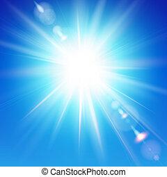 bleu clair, ciel, soleil, arrière-plan., shines