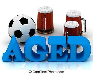 bleu clair, football, 3, mot, vieilli, tasse, bière