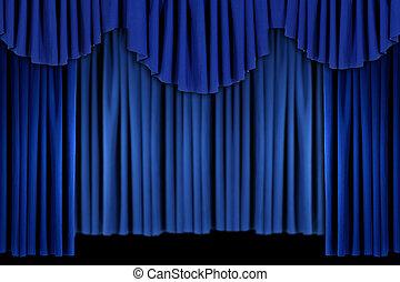 bleu clair, rideau, draper, fond