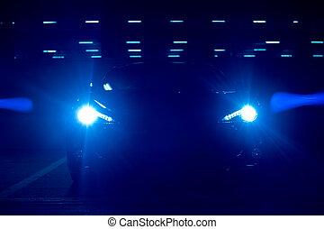 bleu clair, voiture, phares, soir