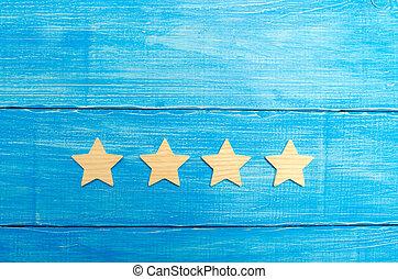 bleu, classement, concept, reussite, business, evaluation., mobile, hôtel, service, application., quatre, arrière-plan., choice., étoiles, acheteur, restaurant, qualité