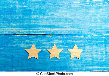 bleu, classement, concept, reussite, business, evaluation., mobile, service, application., trois, hôtel, arrière-plan., choice., étoiles, acheteur, restaurant, qualité