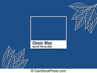 bleu, classique, année, vecteur, illustration., 2020, couleur, advertising.
