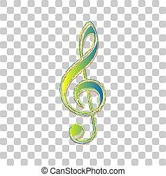 bleu, clef, vert, roughen, clef., triple, icône, contours, élégant, transparent, illustration., musique, g-clef., quatre, arrière-plan., signe., gradient, violon