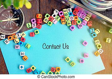 bleu, client, alphabétique, concept, mot, vendange, soutien, nous, contact, papier, idéal, appareil photo, compas, bloc