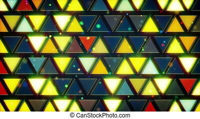 bleu, clignotant, jaune, triangles, boucle