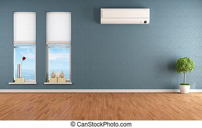 bleu, climatiseur, salle, vide, air