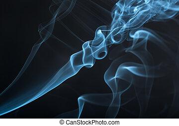 bleu, closeup, fumée
